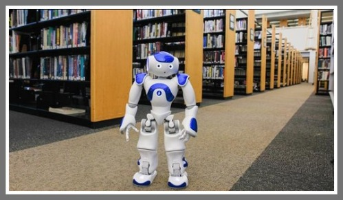One of the Westport library's new robots. (Photo/Danny Ghitis for the Wall Street Journal)