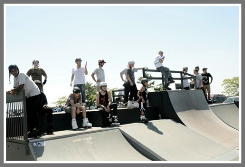 The Compo Beach skate park draws quite a mixed crowd.