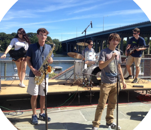 The plaza between Saugatuck Sweets and The Whelk rocked all afternoon long.