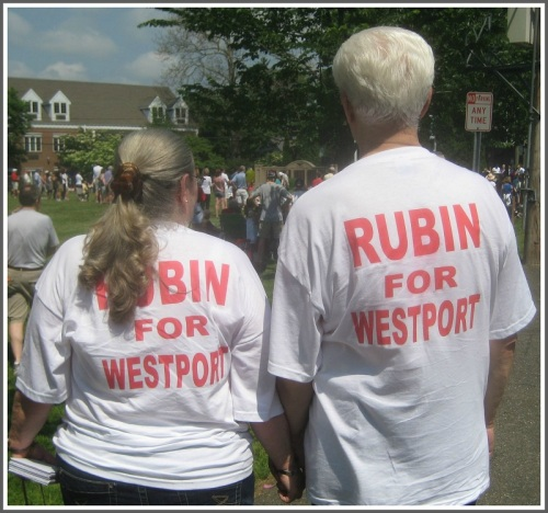 "Steve and Toni Rubin's t-shirts say it all. He adds, ""I could not have done any of this without my wife and best friend."""
