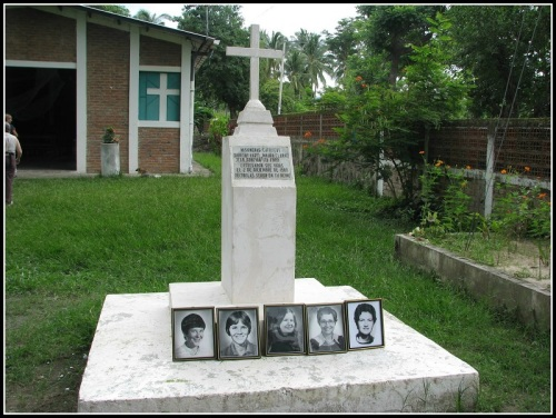 A tribute to Jean Donovan  and fellow churchwomen, near the spot of their murder in El Salvador.