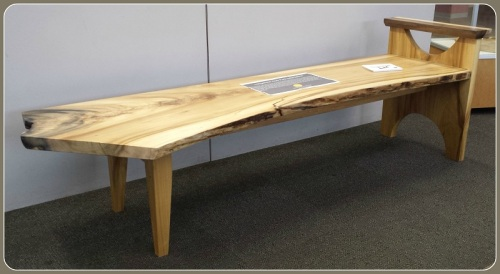 A repurposed table on display in the library.
