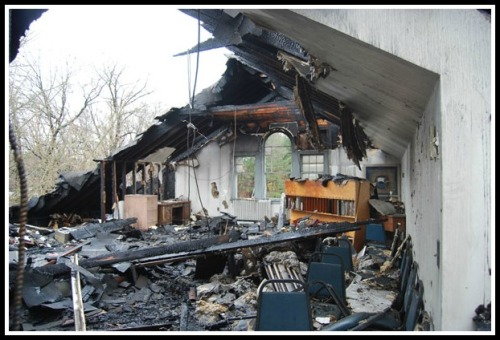While the main damage was in the rear of the building, no part of the Saugatuck Church was untouched by some degree of fire, soot, water, and smoke damage.