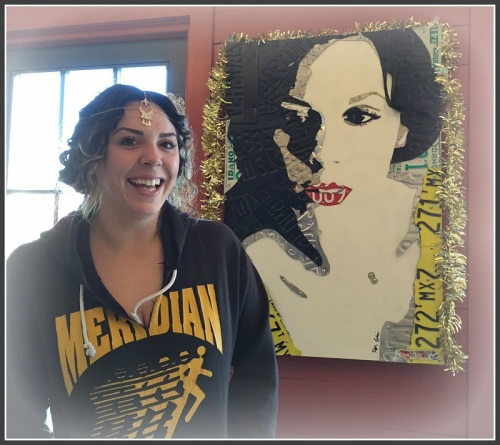 Breanna Brandon, in Java, with a portrait of herself. For the back story, read on.