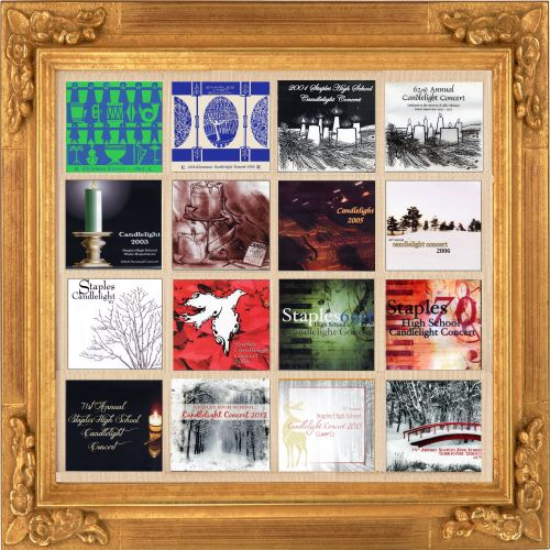 A collage of Candlelight Concert album and CD covers, through the ages.