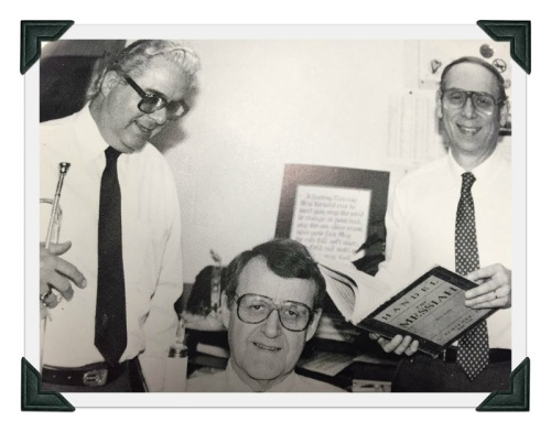 A trio of Staples music department legends: band leader Jack Adams, choral director George Weigle and orchestra maestro John Hanulik.