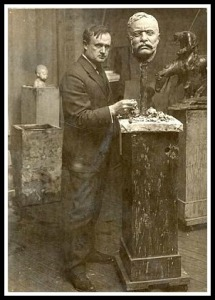 James Earle Fraser, at work on a bust of Theodore Roosevelt in his Westport studio.
