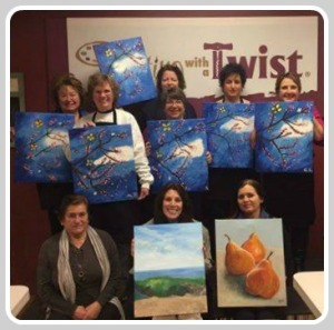 ...and wine and fun at the ever-popular Painting With a Twist.