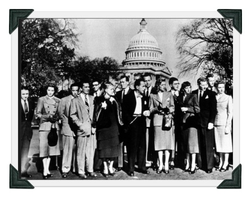 Ralph Alswang (5th from left), with a galaxy of stars as they arrivefd for a session of the House Un-American Activities Committee in Washington, D. The group includes June Havoc, John Huston, Humphrey Bogart, Lauren Bacall, Danny Kaye, Jane Wyatt and Ira Gershwin.