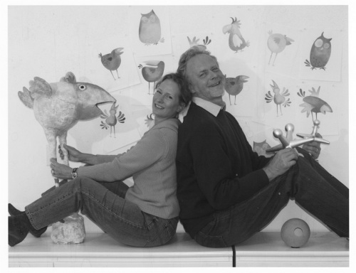 Hans Wilhelm and his wife, with some of his whimsical creations. (Photo/Miggs Burroughs)