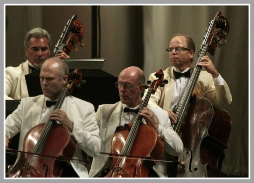 Christopher Hanulik (far right) and the Los Angeles Philharmonic. (Photo/Los Angeles Times)
