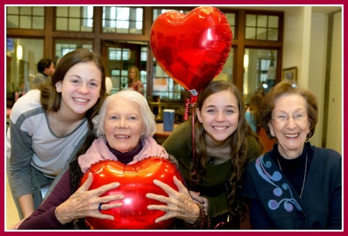 Grace Wynne, Rita Adams, Sydney Malkin and Shirley Mellor enjoy the Valentine's party. (Photo/Susan Woog Wagner)