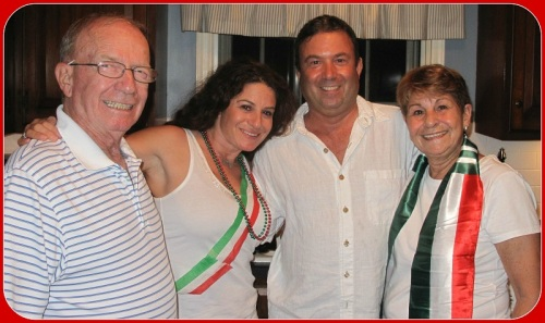 The Izzo family -- decked out in Italy's colors.
