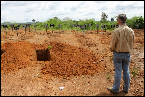 Tony Banbury calls this the toughest moment of his 4 months in Africa. The Sierre Leone graveyard included the names of ages of Ebola victims -- and one freshly dug plot, awaiting the disease's latest casualty. (Photo/Ari Gaitanis for the UN)