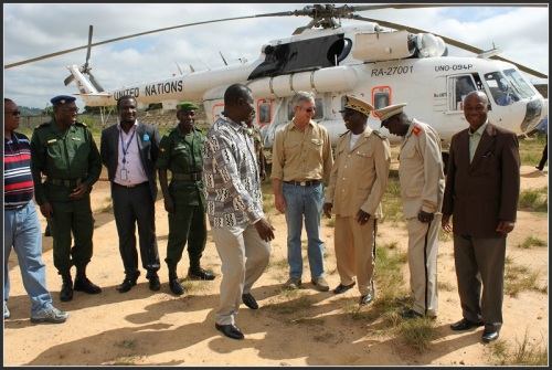 Tony Banbury, with government and military officials in Guinea.