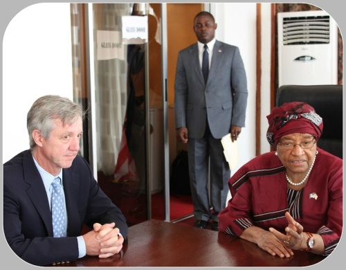 Tony Banbury with Ellen Johnson Sirleaf. She is the president of Liberia, and a Nobel Peace Prize winner.