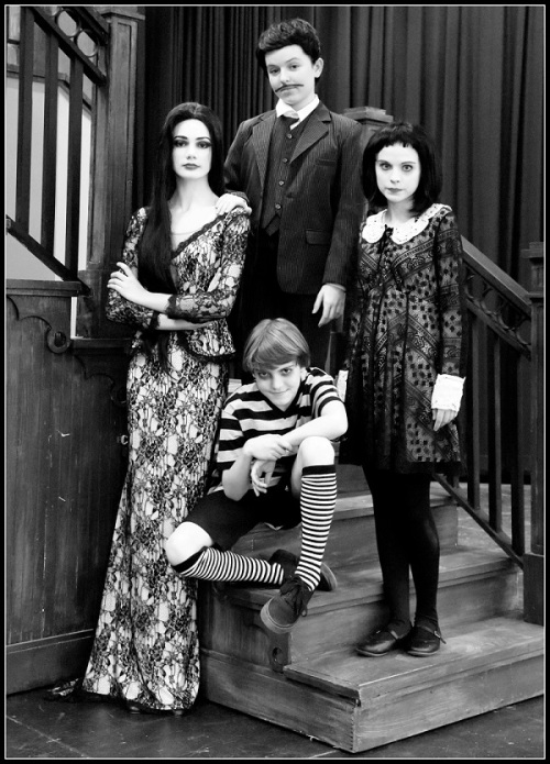 "Coleytown Company's ""Addams Family"" cast includes (clockwise from left): Anella Lefebvre (Morticia), Georgia Wright (Gomez), Maggie Foley (Wednesday) and Oscar Hechter (Pugsley)."