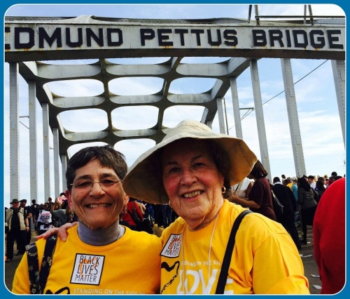 Denny Davidoff (right) and Rev. Olivia Holmes, in Selma. Rev. Holmes, a former Westporter, was ordained following a career in advertising. She now lives in New Hampshire. The bridge retains the name of Edmund Pettus, a Confederate general. After the Civil War he became Grand Dragon of the Alabama Ku Klux Klan -- and a US senator.