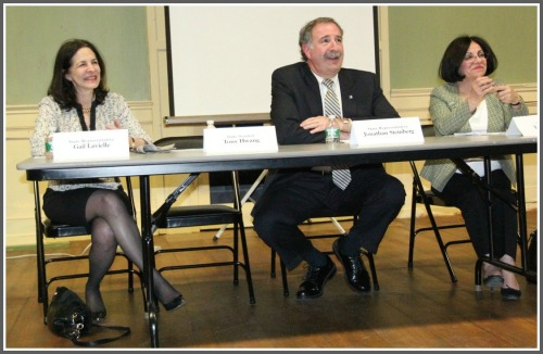 The setting was utilitarian, as Gail Lavielle, Jonathan Steinberg and Toni Boucher addressed important local issues with honesty and intelligence. (Photo/Gene Borio)