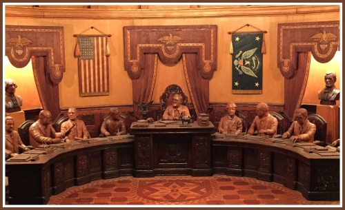 President Roosevelt -- and each of his cabinet members -- is carved in exquisite detail.