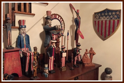A visitor to the Levines' home is greeted by an array of Uncle Sams.