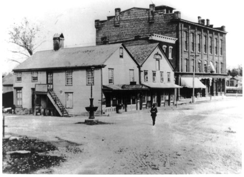 In the early 1900s, National Hall (seen here from the intersection of the Post Road and Wilton Road) was one of the most important spots in town.