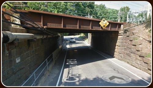 South Compo Road crosses underneath the railroad. It floods often -- but that's a subject for another post. (Photo/Google Maps)