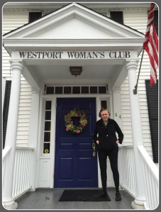 Westport Woman's Club president Dorothy Curran stands proudly outside the organization's Imperial Avenue home.