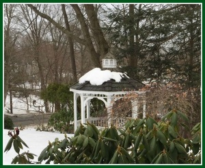 The gazebo and gardens are a lot lovelier in spring, summer and fall.