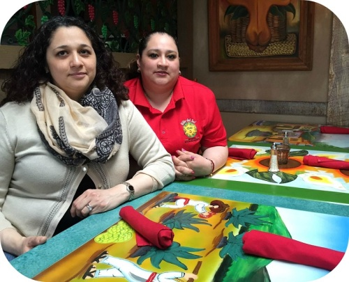 Colleen and Jennifer Osorio. Their father brought all the furnishings from Mexico by hand.