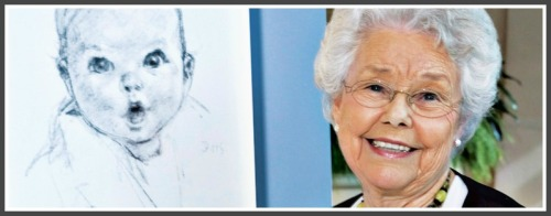 The original charcoal sketch of Ann Turner, and Ann Turner Cook today.