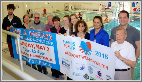 "Sponsors and participants prepare for Sunday's ""Hands of Life"" CPR and AED training at the Westport Family YMCA."