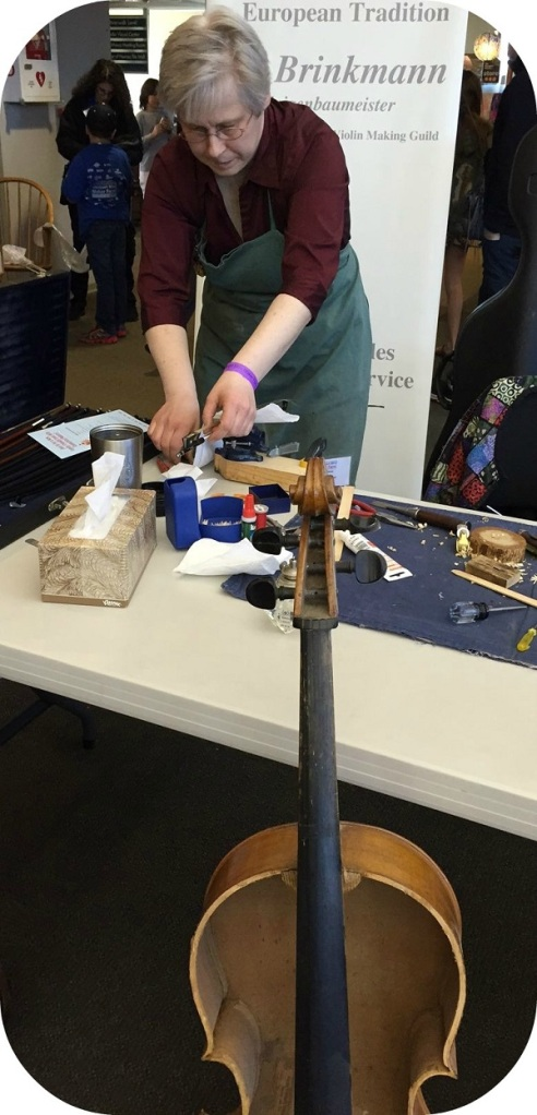 Where can you find a real live violin-maker? At the Maker Faire, of course.
