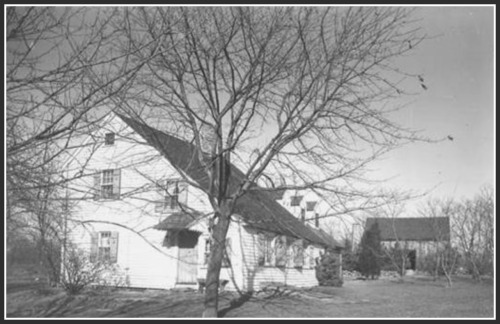 "The ""Meeker house"" in the 1930s, as photographed for a WPA project. After the Revolutionary War, Benjamin Meeker built the barn in back. It -- and the house -- still stand today."