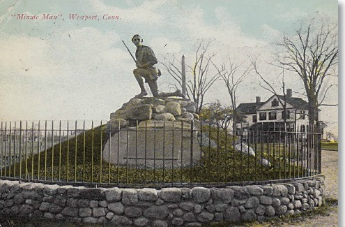 The Minute Man statue, around the time of his 1910 dedication.