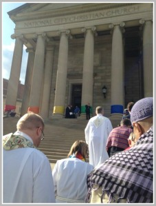 A scene from Sunday's prayer service at the National City Church in Washington, DC.