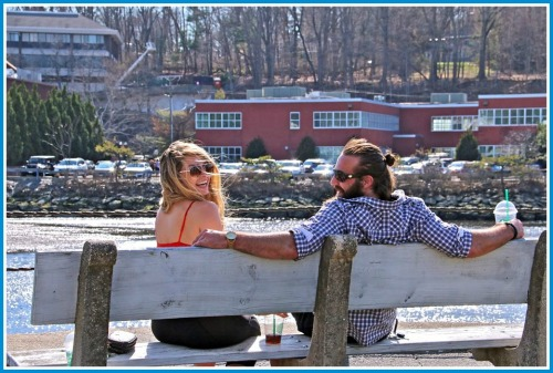 This relaxed couple enjoyed the view on a bench behind Oscar's. (Photo/Lynn U. Miller)