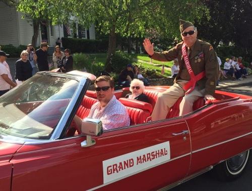 Grand marshal and World War II vet Bruce Allen. (Photo/Dan Woog)