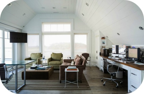 A 3rd-floor office is light, airy, and offers wonderful water views. (Photo/Julie Bidwell for Wall Street Journal)