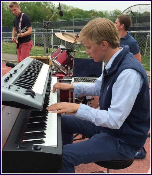 Will Dumke (keyboard) and Andrew Puchala (guitar) rocked the house -- er, football field.