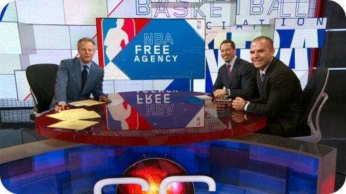 """David Lloyd, Chris Broussard and Tom Haberstroh on ESPN's """"Sportscenter"""" this afternoon."""