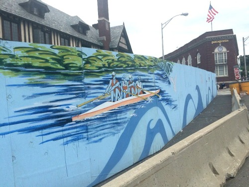 Duvian Montoya honored the Saugatuck rowers with this painting. (Photo/Helen Klisser During)