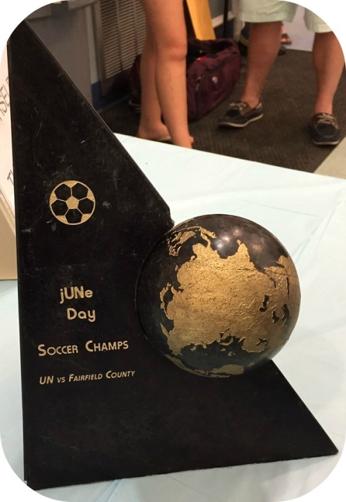 For 50 years, Westport soccer teams have taken on their UN counterparts. This trophy is a recent addition to the rivalry. (Photo/Adam Stolpen)