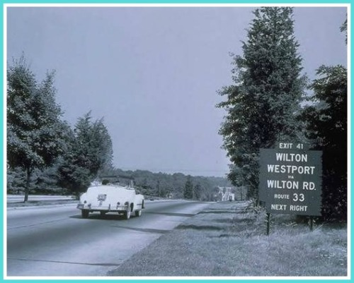 Merritt Parkway exit 41 sign - 1949 - copyright Thomas J Dodd Research Center UConn