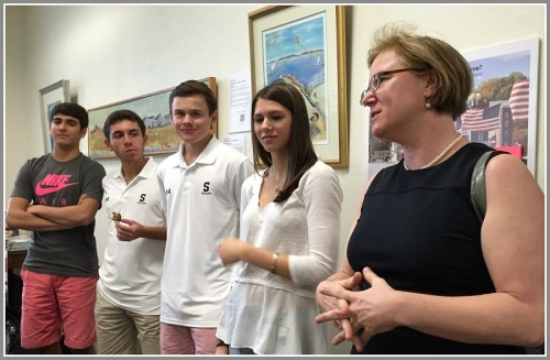 Noah Staffa, Daniel Perez Elorza, Graham Gudis, senior intern Allie Benjamin and Staples English teacher Sue O'Hara describe the research and writing process. The