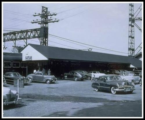 Commuter parking, circa 1949.