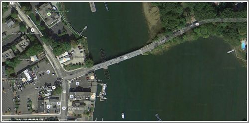 The Bridge Street bridge and environs, as seen on Google Earth view.