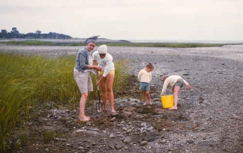 Bill Whitbeck (with pail), his mother, sister and a neighbor digging clams on Cockenoe's sandbar, now almost totally gone.  This stretch between the sandbar and the higher part of the island in the distance was covered at high tide, though it was shallow enough to walk between the two in 1958.