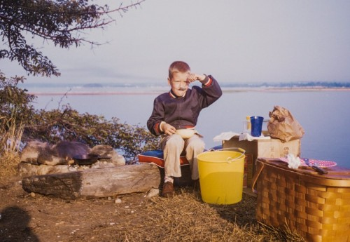 Breakfast on the south side of Cockenoe, in 1959. The bay is behind young Bill Whitbeck. In the distance to the left is Sprite Island; Saugatuck Shores (still undeveloped) is to the right.