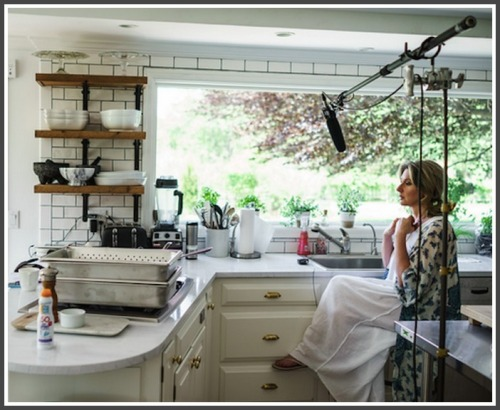 Jane Green in her kitchen, for a cookbook video shoot.